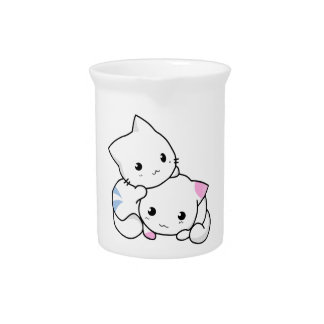 Two Kittens Drink Pitcher