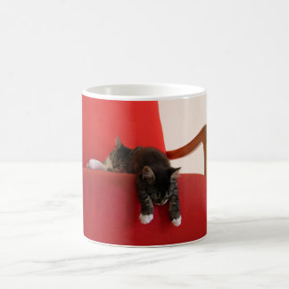 Two Kittens Hanging off a Red Chair Cushion Coffee Mug