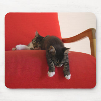 Two Kittens Hanging off a Red Chair Cushion Mouse Pad