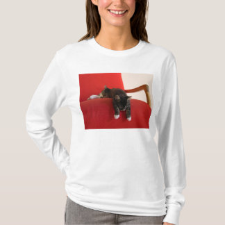 Two Kittens Hanging off a Red Chair Cushion T-Shirt