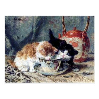 Two kittens having tea party postcard