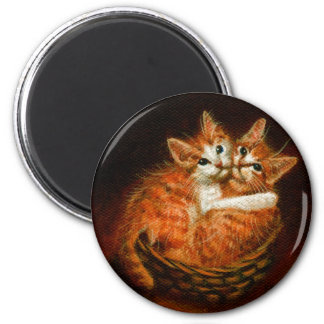 Two Kittens in Basket Magnet