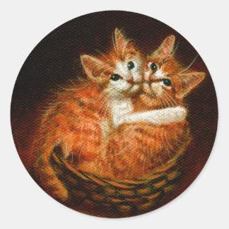 Two Kittens in Basket Stickers