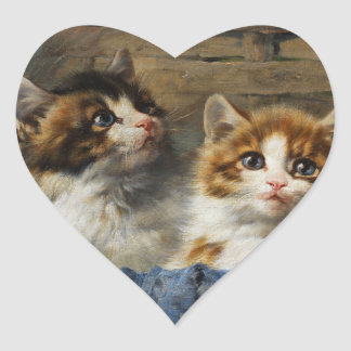 Two kittens in basket with blue cloth 1913 heart sticker