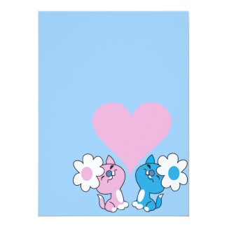 Two kittens in love 5.5x7.5 paper invitation card