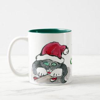 Two Kittens in Santa Hats Two-Tone Coffee Mug