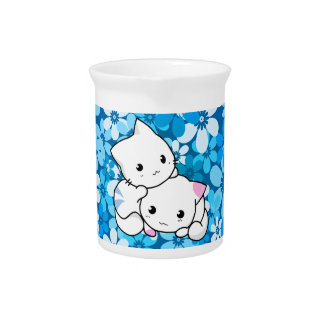 Two Kittens on Blue Background Beverage Pitchers