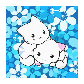 Two Kittens on Blue Background Canvas Print