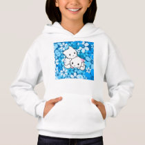 Two Kittens on Blue Background Hoodie