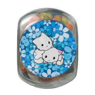 Two Kittens on Blue Background Jelly Belly Candy Jars