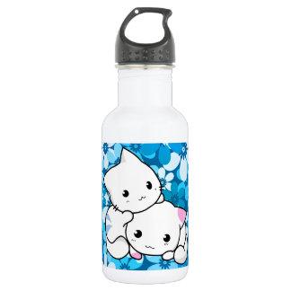 Two Kittens on Blue Background 18oz Water Bottle