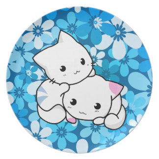 Two Kittens on Blue Background Plate