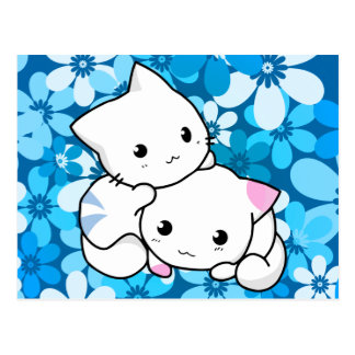 Two Kittens on Blue Background Postcard