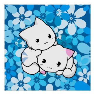Two Kittens on Blue Background Poster