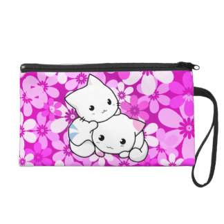Two Kittens on pink Background Wristlets