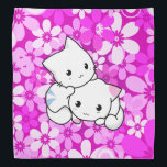 """Two Kittens on Pink Background Bandana<br><div class=""""desc"""">Cute Kittens on pink flower background. Kittens kittens everywhere Kittens chewing on my hair Kittens climbing up my jeans Kittens hanging from the screens There&#39;s a kitten on each shoulder Will they do this when they&#39;re older? Kittens fighting on the chairs Kittens tumbling down the stairs There&#39;s a kitten on...</div>"""