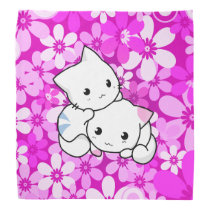 Two Kittens on Pink Background Bandana