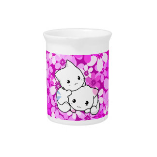Two Kittens on pink Background Beverage Pitcher