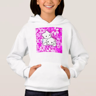 Two Kittens on Pink Background Hoodie