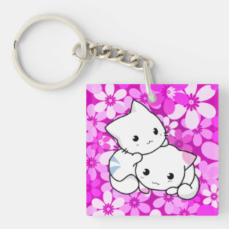 Two Kittens on pink Background Single-Sided Square Acrylic Keychain