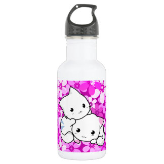 Two Kittens on pink Background 18oz Water Bottle