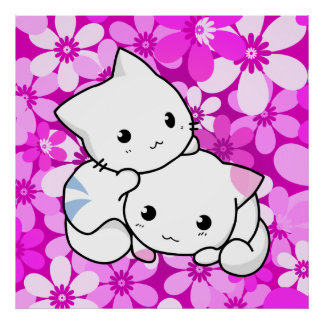 Two Kittens on pink Background Poster