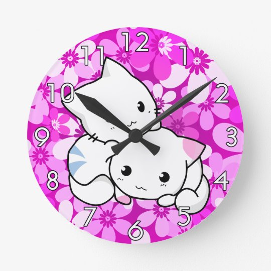 Two Kittens on pink Background Round Clock