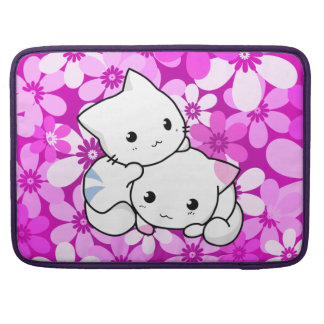 Two Kittens on pink Background Sleeve For MacBook Pro