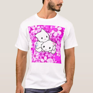 Two Kittens on pink Background T-Shirt