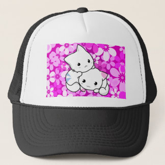 Two Kittens on pink Background Trucker Hat