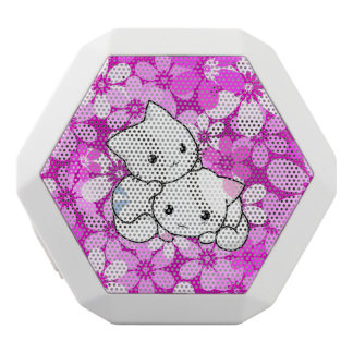 Two Kittens on Pink Background White Bluetooth Speaker