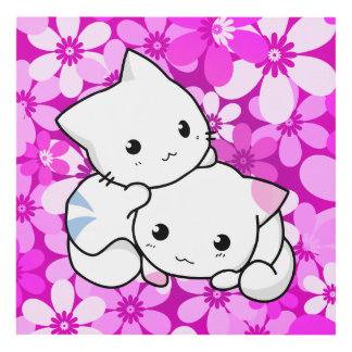 Two Kittens On Pink Panel Wall Art