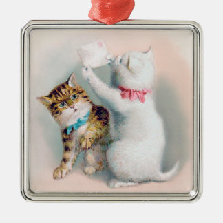 Two Kittens Reading Mail - Cat Christmas Ornament
