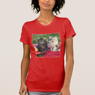 Two Kittens Sitting On A Red-Colored Blanket T-Shirt