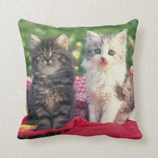 Two Kittens Sitting On A Red-Colored Blanket Throw Pillow