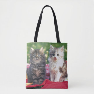 Two Kittens Sitting On A Red-Colored Blanket Tote Bag
