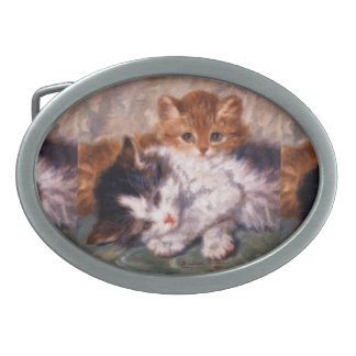Two Kittens Snuggle by Henriëtte Ronner-Knip Belt Buckle