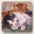 Two Kittens Snuggle by Henriëtte Ronner-Knip Beverage Coaster