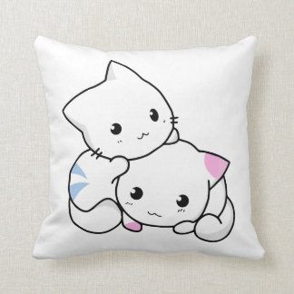 Two Kittens Throw Pillow