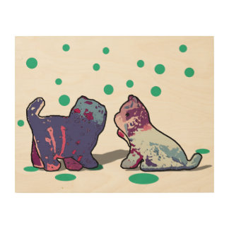 Two kittens wood wall decor
