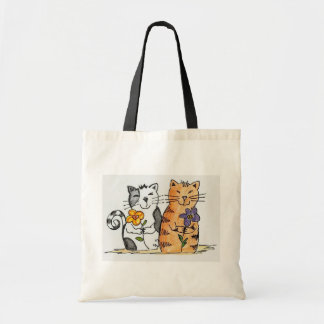 Two kitty friends budget tote bag