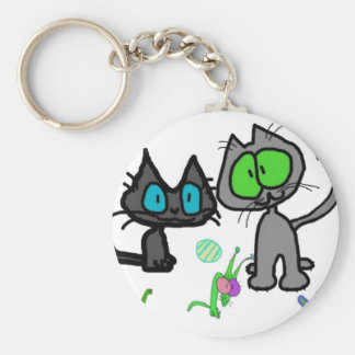 Two Kittys And There Toys Key Chain