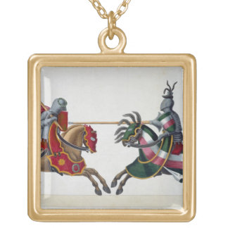 Two knights at a tournament, plate from 'A History Gold Plated Necklace
