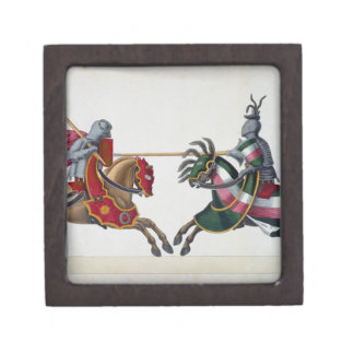 Two knights at a tournament, plate from 'A History Jewelry Box