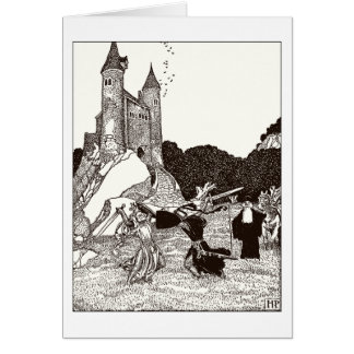 Two knights fighting before the castle greeting card