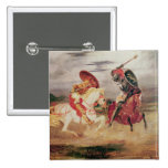 Two Knights Fighting in a Landscape, c.1824 Pinback Button