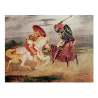 Two Knights Fighting in a Landscape, c.1824 Postcard