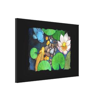 """""""Two Koi and Lotus"""" by Agni Kama Canvas Print"""