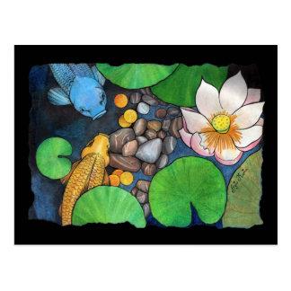 """""""Two Koi and Lotus"""" by Agni Kama Postcard"""