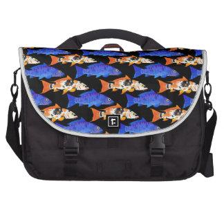 Two Koi Carp Pattern in black Bag For Laptop